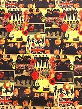 """THE BEATLES,Cool Collage of Photos,,Cotton,Very RARE, Spoonflower, New,18x21"""""""