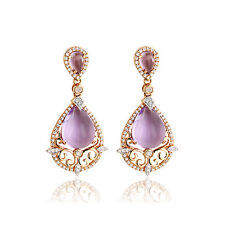 Amethyst 7,70 ct Earrings Diamonds 585 Yellow Gold diamonds 0,70 Carat Wesselton