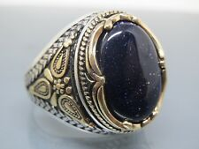 Turkish Handmade Ottoman 925 Sterling Silver Aventurine Stone Men's Ring Sz 10