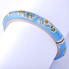 50mm Womens lucky Bracelet Cute Flower Gold Plated Blue Enamel Bangle Bracelet