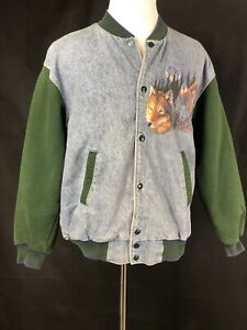 Mens Vintage Large Retro Letterman Jacket Wolves In The Wild Fruit Of The Loom