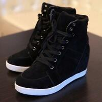 Women's Fashion Wedge Sneakers Hidding Heels Black Red High Top Shoes Lace Up Sz