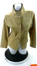 LAL WOMEN'S GOLD & BEIGE ANIMAL PRINT SUEDED LEATHER COAT JACKET SIZE L