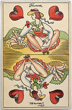 Alex Szekely orig. vint. ink/watercolor erotic playing card. Very rare!