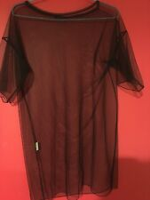 Boohoo sheer black mesh top, short sleeved, perfect condition, size 10
