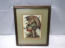 "Vintage Hummel 36 Boy & Girl Children Under Umbrella Framed Print 17.5""x14.5"""