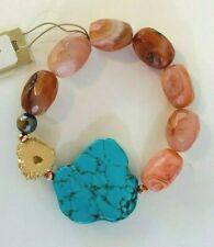 Barse Brand Beaded Carnelian, Turquoise Magnesite & Drusy Stretch Bracelet #2