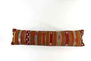Kilim Pillow Cover 12x48 Vintage Oushak Ethnic Rug Extra Long Lumbar Pillow 4344