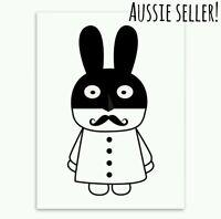 Superhero Rabbit canvas A4 paint print art poster nursery kids baby home bandit