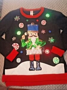 Holiday Time  LIGHT UP Ugly Christmas Sweater Women's Nutcracker Drummer sz S