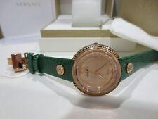 Versace Ladies VA7090014 THEA Diamond Topaz Gold Green Leather Watch - Brand New