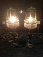 Miss Haversham Chic Antique Bedside Table Lamps Beaded Art Deco Shades