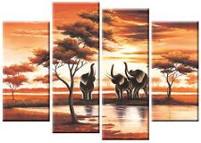 Extra Large 5ft wide Africa Elephants Canvas Pictures Orange tones 4 panel Art