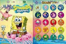 10 Autocollants/Figurines/Cartes Bob l'éponge/Spongebob Cora/Match/Delhaize