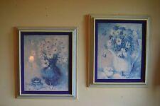 VTG MID Century Modern Vanguard Studios BLUE FLORAL Pair of Prints Wall Art 1973