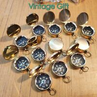 Antique Brass Lid Mini Compass Lot Of 25 Pcs Nautical Gift