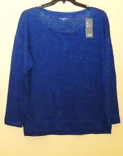 Eileen Fisher 1X Blue Linen Scoop Neck Wedge Top NWT