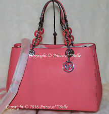 MICHAEL KORS Cynthia Medium Satchel Leather shoulder Bag Purse Tote Coral $348