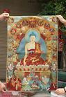 "36"" Tibet Buddhism Silk Cloth Red Shakyamuni Buddha Thangka Embroidery Mural."