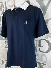 New With Tag Nautica Polo Shirt Men Extra Large XL Navy Blue Cotton Short Sleeve
