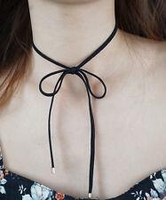 Bow Choker, Black Suede Ribbon Bow Choker, Black Choker Necklace, Black Bow Tie