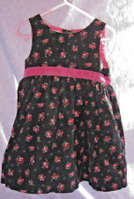 OshKosh Black Pink Floral Corduroy Jumper Dress Sz 24 Mos