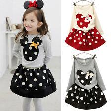 Niño Bebé Niña Mninie Mickey Mouse Fiesta Traje Lazo Camisas Vestido De Lunares
