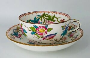Minton Cuckoo Oversized Teacup and Saucer Bird flowers pink turquoise green rust