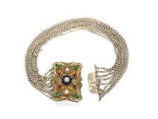 filigrane, 8-reihige Kropfkette - Österreich - mit Farbsteinen - 750er Silber