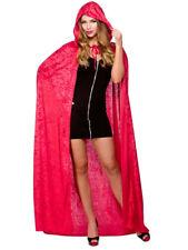 Deluxe Adult Long Velvet Velour Hooded Cape Cloak Coat Fancy Dress Accessory Red