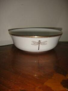 Kate Spade June Lane Gold Dragonfly Set of 2  All Purpose Cereal Bowls New