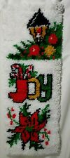 """New listing Joy Latch Hook Christmas Completed Banner Wall Hanging 12.5"""" x 34.5"""" 1119"""