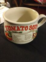 Vintage Tomato Recipe Ceramic Mug Cup Bowl with Handle.