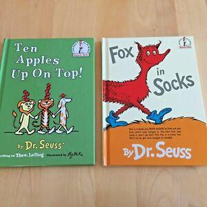 """Lot 2: DR.SEUSS """"TEN APPLES UP ON TOP"""" & """"FOX IN SOCKS"""" BEGINNER BOOKS"""