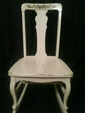 Vintage Antique Queen Anne Rocking Chair English French Country White Solid Oak