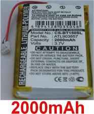Batterie 2000mAh Pour Globalsat TR-150, Globalsat TR-151 type ATL903857