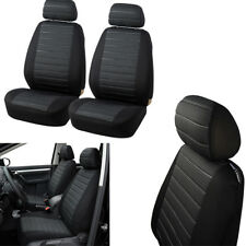 Car 2 Front Seat Cover Set Airbag Compatible Cushion Black+Grey Durable Jacquard