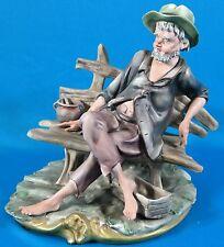 """Vintage Capo De Monte Porcelain """"Old Man on a Bench"""" figurine"""
