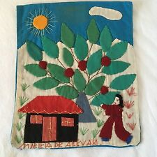 Hand Embroidered/Appliqued Picture-Signed-El Salvador-c.1975