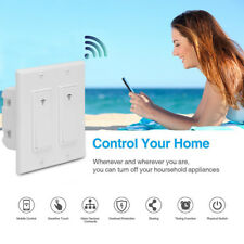 Smart 2 Gang Wifi LED Light Dimmer Wall Touch Timer Switch Panel For Alexa