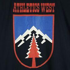 Vtg 80s Nike Athletics West T-Shirt M Black Blue Tag Single Stitch 50/50 1980s
