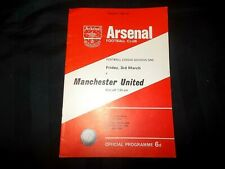 Football Programme Arsenal vs Manchester United March 3rd 1967 Division 1