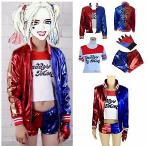 AU Kids Harley Quinn Costume Suicide Squad Film Halloween Harlequin Fancy Dress