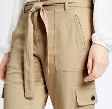 M&S Ladies Trousers Beige Stone Soft Modal Cargo Slim Leg BNWT Marks