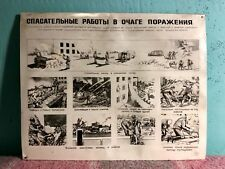 #20 SOVIET SAFETY PROPAGANDA POSTER PLATE RESCUE OPERATIONS USSR * COLD WAR ERA