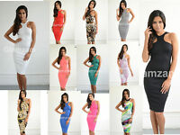 New Womens Ladies Glam Cut Out Arm Celeb Pencil Midi Bodycon Print Party Dress