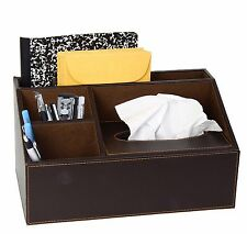 Brown Leather Design Supplies Organizer With Built In Tissue Box, 4 Compartments