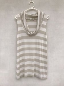 🍂 Mela Purdie Viscose Sleeveless Striped Print Cowl Neck Top Blouse Size 12 M