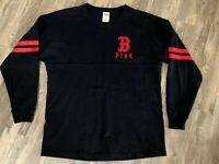 VS PINK Long Sleeve Tee Pink Navy Blue Red Sox Baseball Size Small Cute!!