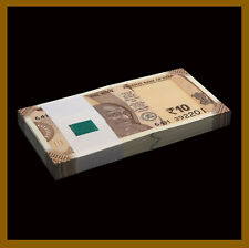 India 10 Rupees x 100 Pcs Bundle, 2018 P-109 New Design Gandhi Unc